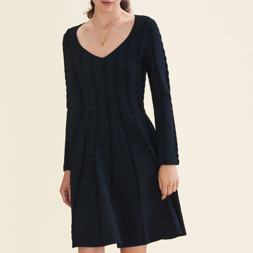 Vestido de punto con bordados : Vestidos color Negro