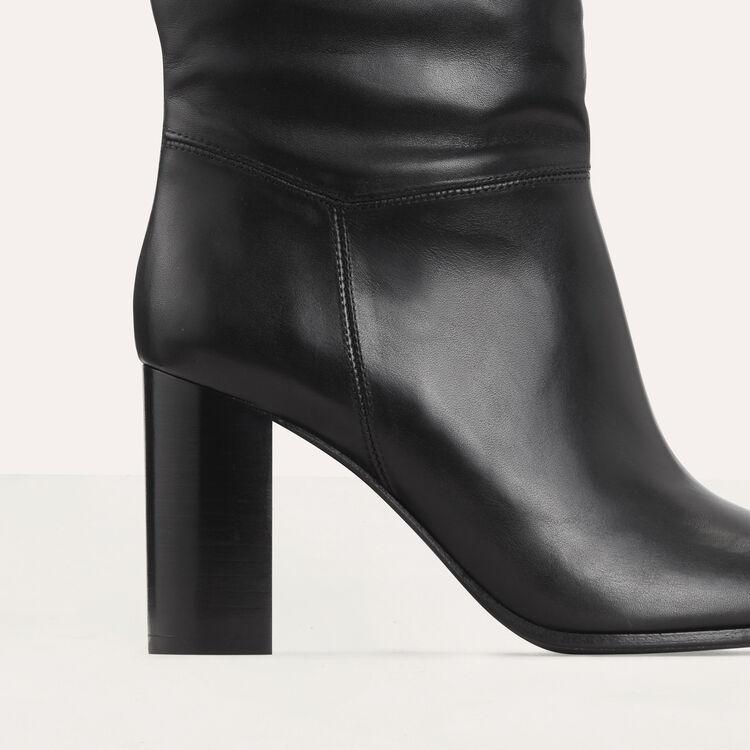 Botines de cuero con tacón : Botínes color Negro