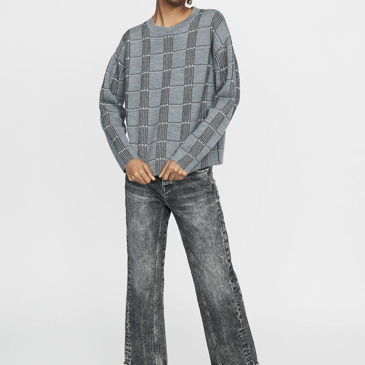 Jersey oversize de punto Jacquard : Tartan color CARREAUX