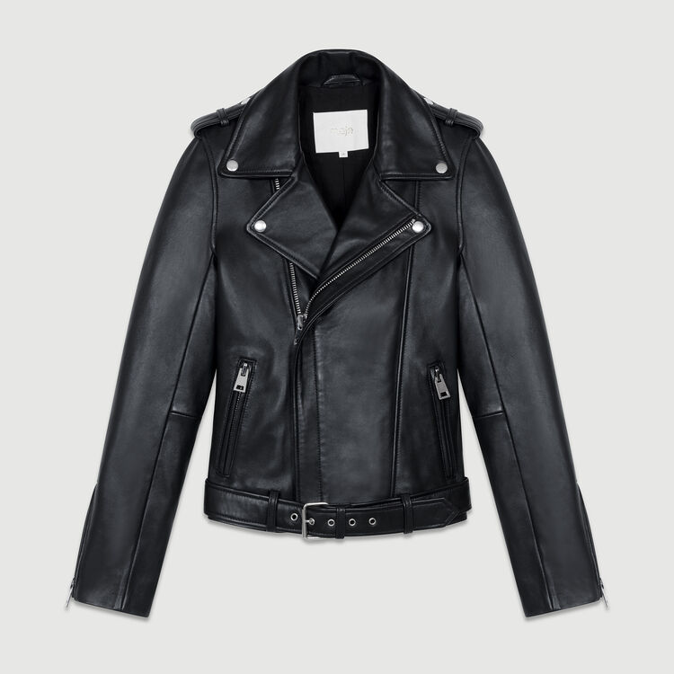 Chaqueta de cuero Bubble con cinturón : Cazadoras color Negro