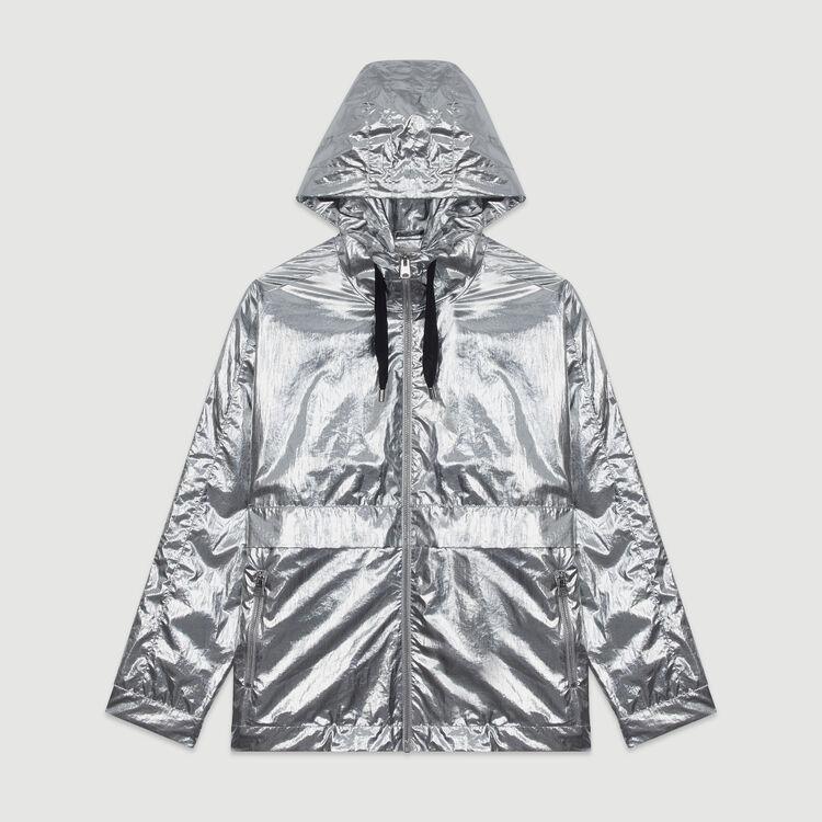 Abrigo rompevientos con capucha : Abrigos y Cazadoras color Plateado