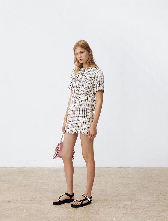 Top estilo tweed con flecos - Tops y Camisas - MAJE
