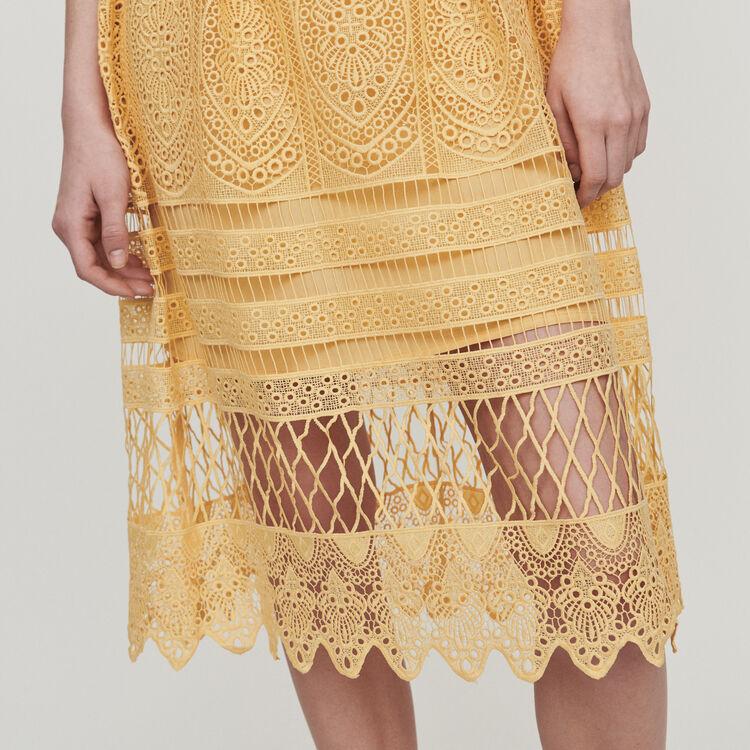 Vestido largo con encaje : Vestidos color Amarillo