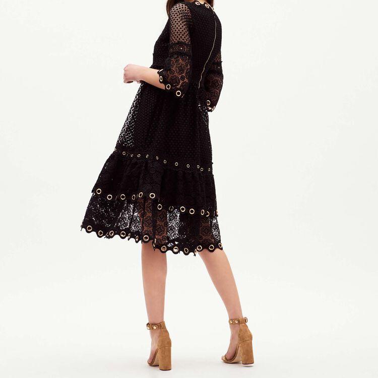 Vestido largo de guipur : Vestidos color Negro
