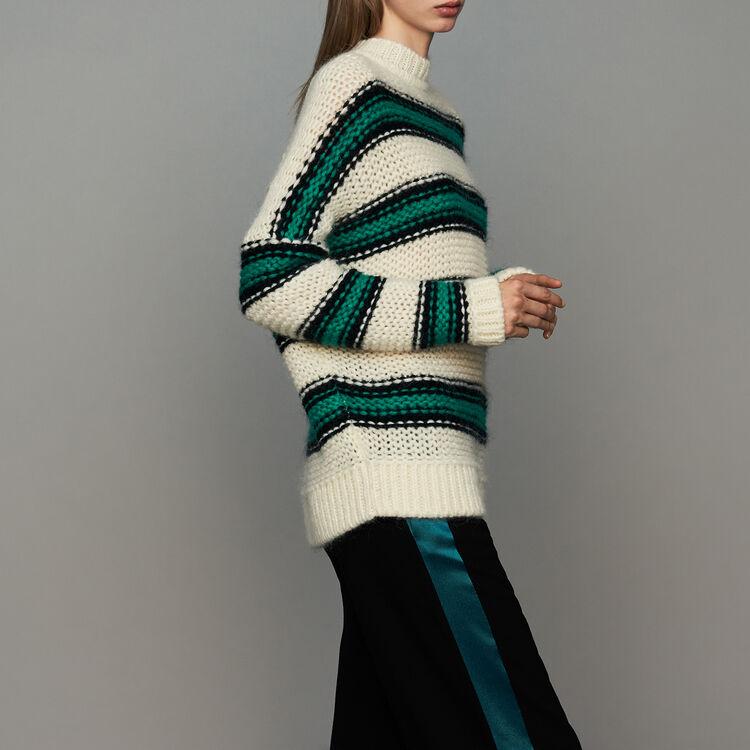 Jersey oversize de punto tricolor : Prêt-à-porter color Verde