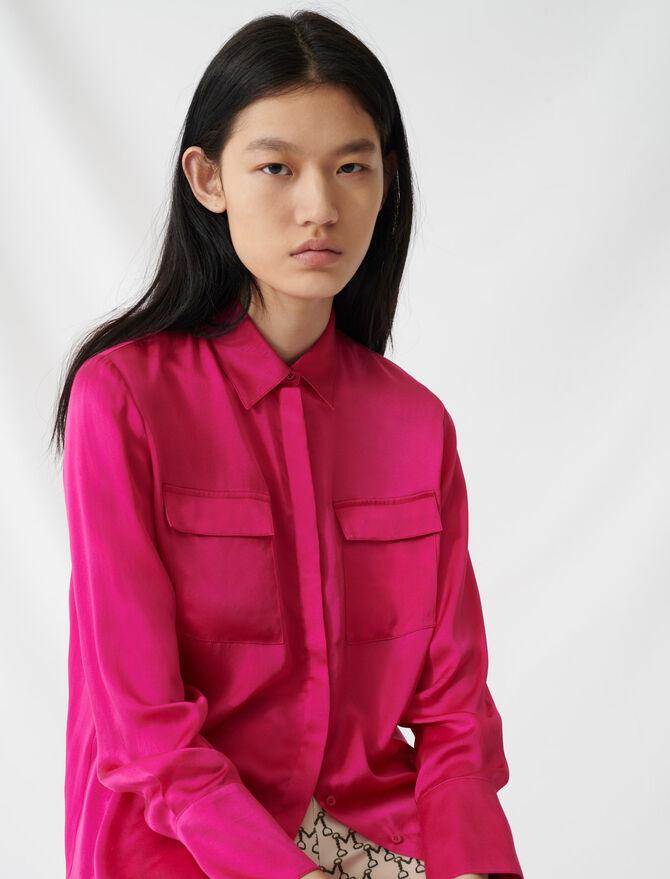 Camisa fucsia de satén de seda - Tops y Camisas - MAJE