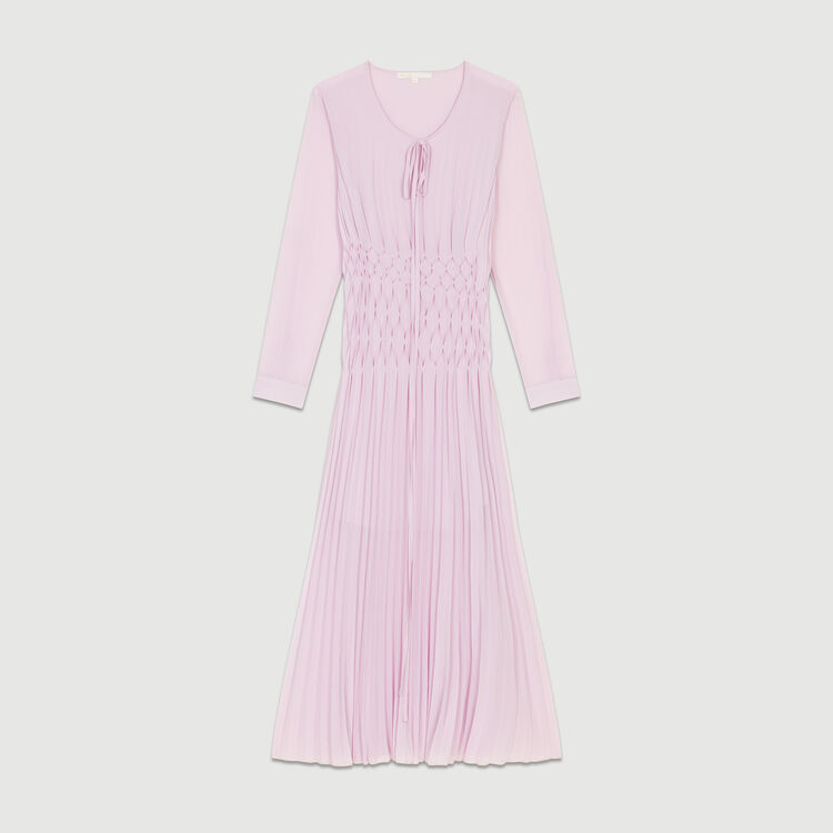 Vestido largo plisado : Vestidos color LILA