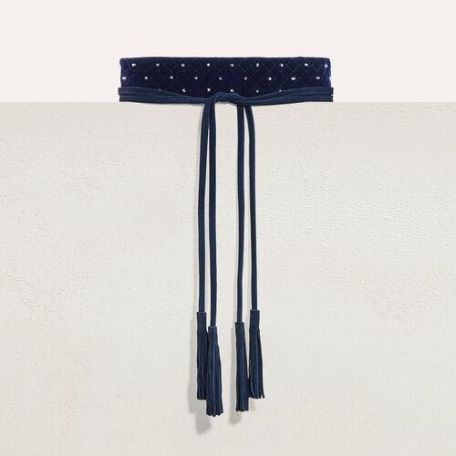 Cinturón ancho anudado con tachuelas : Accesorios color Azul Marino