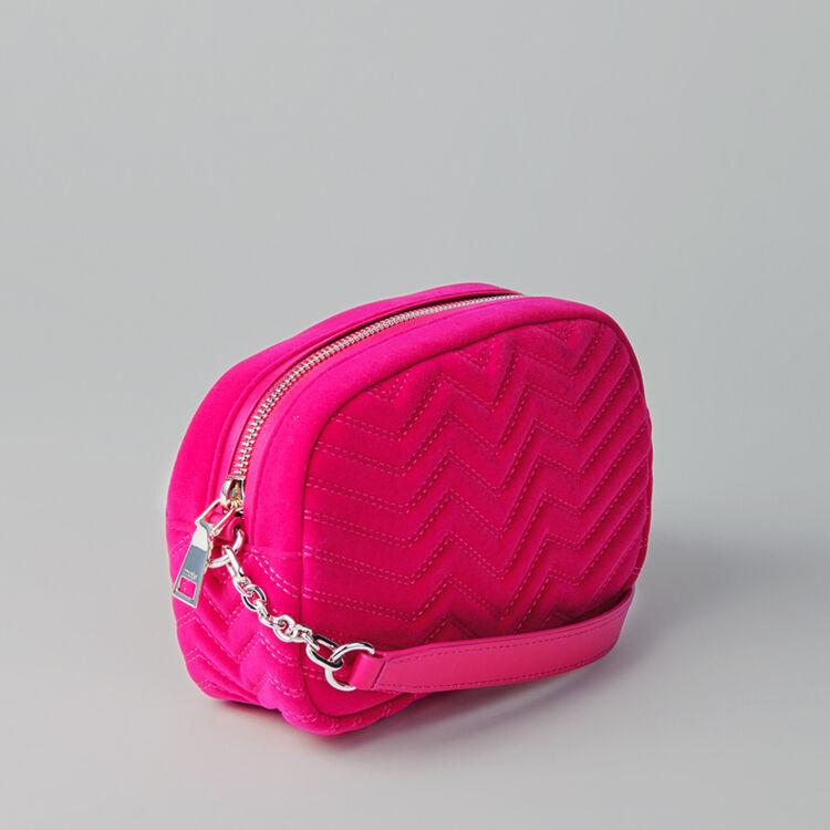 Quilted velvet shoulder bag : Sami bag color Rosa