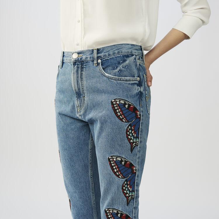 Vaquero recto con mariposa bordada : Jeans color Denim
