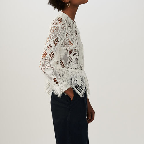 Lace top : Camisas color Crudo
