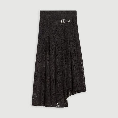Falda en guipur con motivos cachemir : Faldas y shorts color Negro
