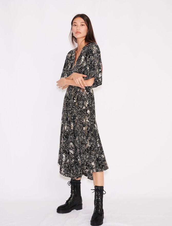 Vestido de crepé estampado lentejuelas - Vestidos - MAJE