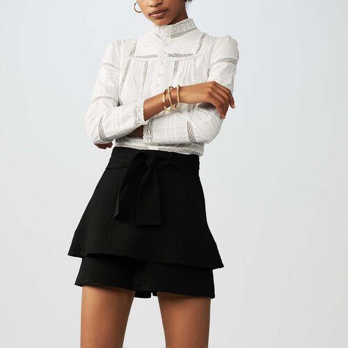Short 2 en 1 de lino mix : Faldas y shorts color Negro