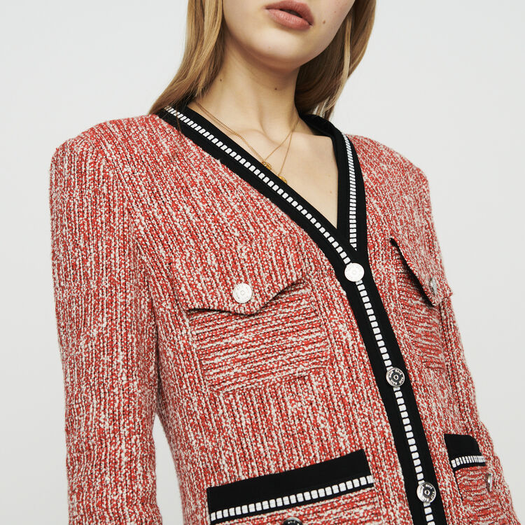 Chaqueta tipo tweed : Chaquetas color Rojo