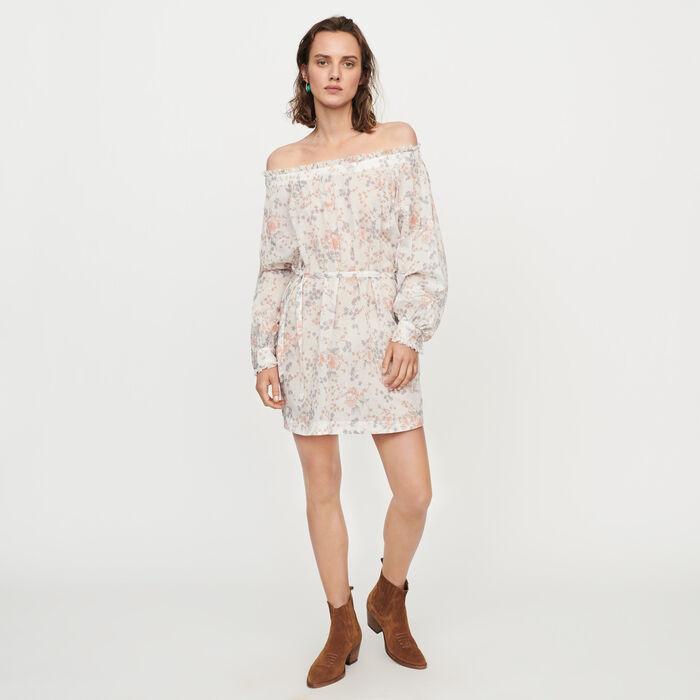 Vestido fruncido en velo de algodón : Vestidos color Rosa