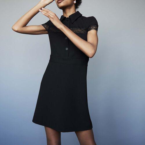 Vestido-camisero de crepé : Vestidos color Negro
