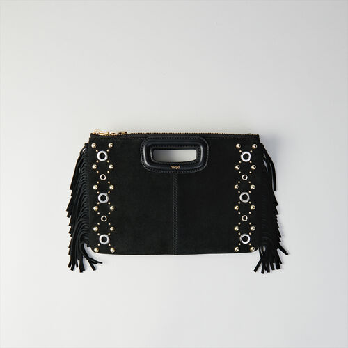 Cartera M Duo en gamuza y ojales : M Duo color Negro