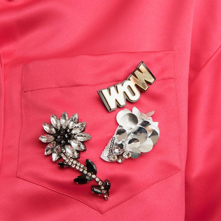 Blusa de raso con joya en el bolsillo : Tops y Camisas color Rosa