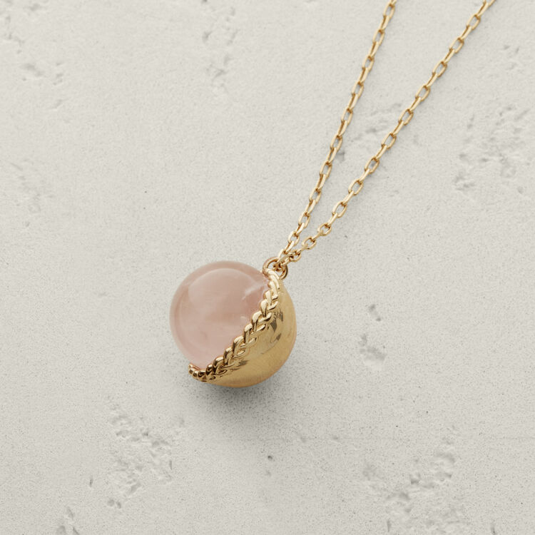 Collar con bola en piedra natural : Bisuteria color Rosa Claro