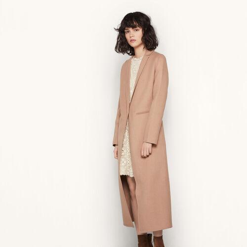 Abrigo largo de lana de doble cara : Abrigos color Camel