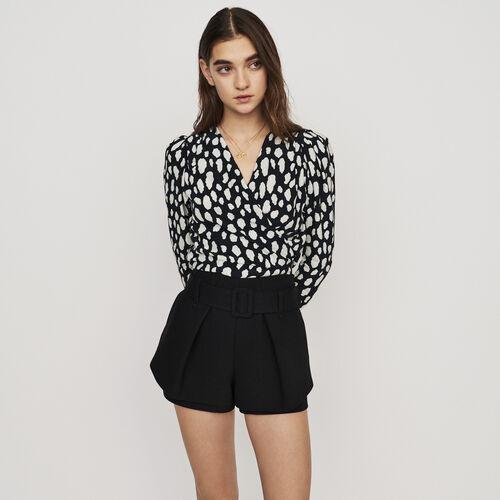 Short 2 en 1 de pinzas con cinturón : Faldas y shorts color Negro