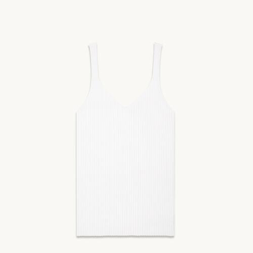 Camiseta sin mangas de punto de canalé - null - MAJE