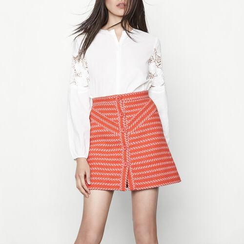 Falda corta de jacquard abotonada : Faldas y shorts color Baldosa