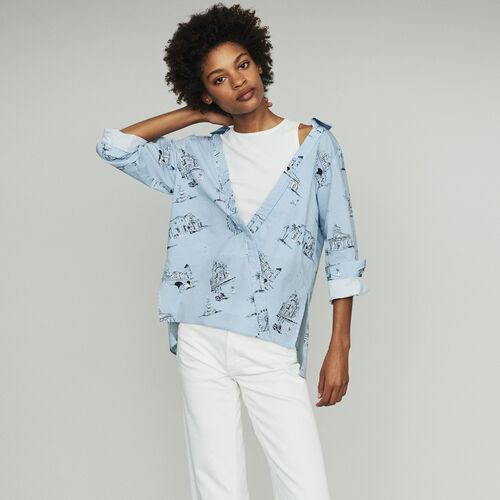 Blusa de rayas estampado Paris : Tops y Camisas color Azul