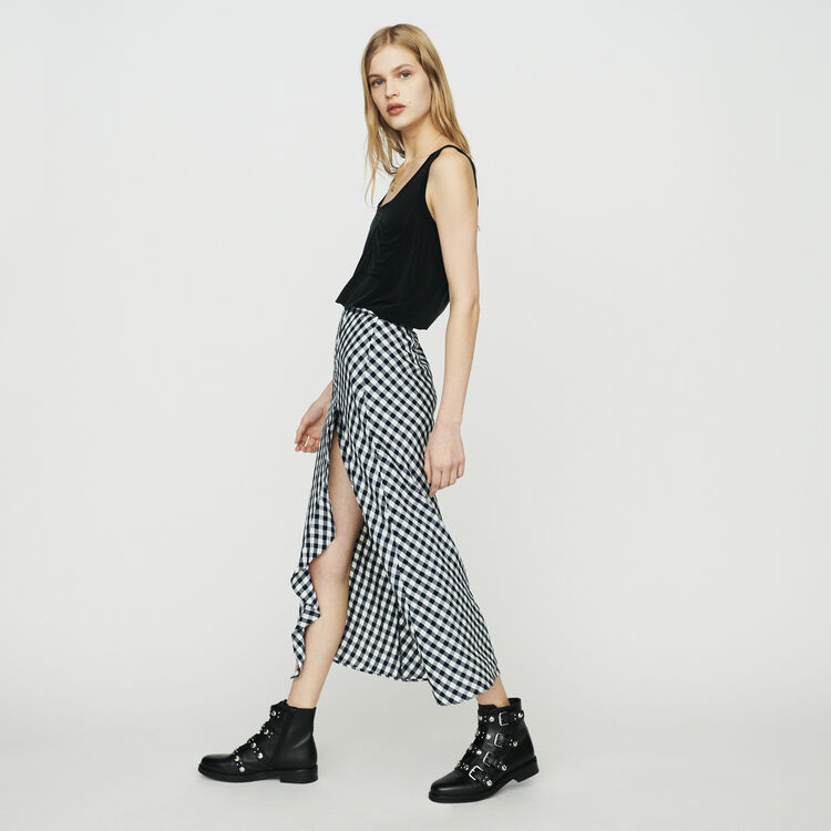 Falda con estampado de vichy : Faldas y shorts color CARREAUX