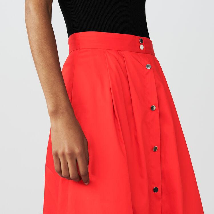 Falda larga de algodón abotonada : Faldas y shorts color Rojo