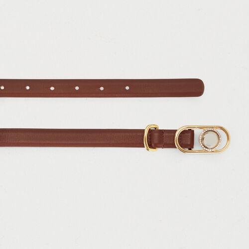 Cinturón pantalón porte mixto de cuero : Cinturones color Negro