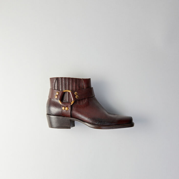 Botines de cuero puntera cuadrada : Botas y Botines color Marrón