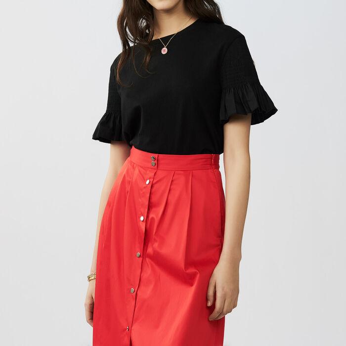 Camiseta de algodón con volantes : Tops color Negro