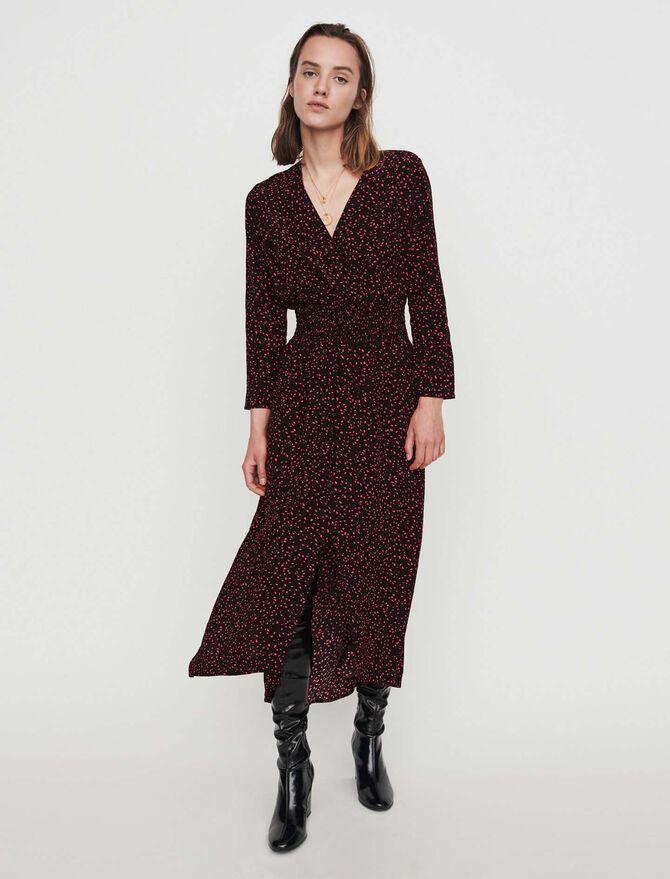 Vestido fruncido de crepé estampado - Vestidos - MAJE