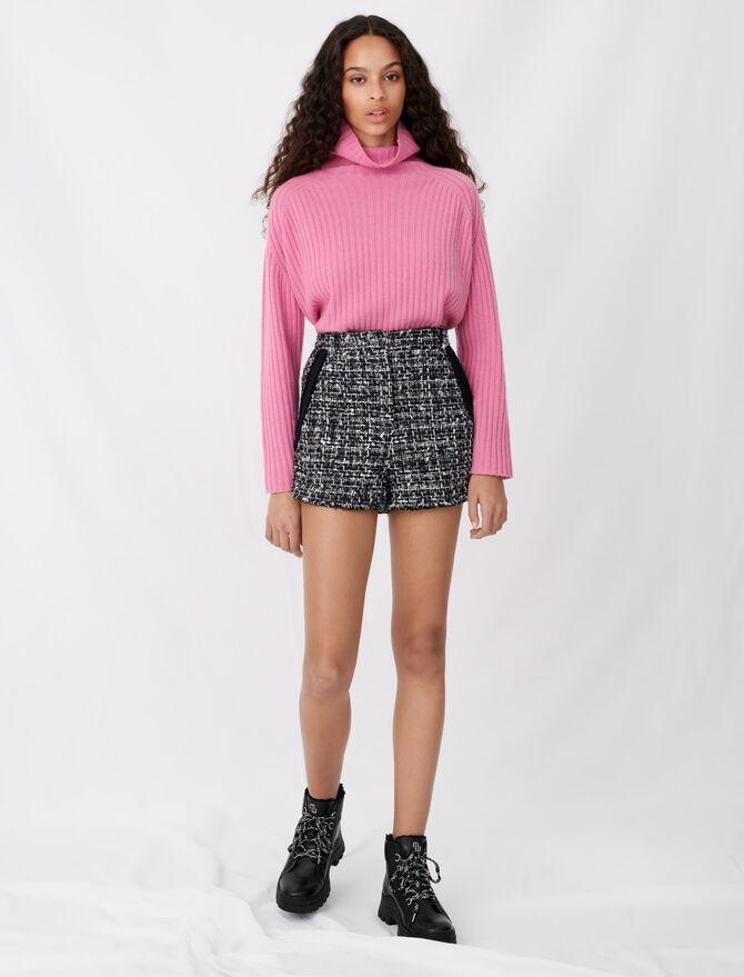 Short tipo tweed con bandas en contraste - Faldas y shorts - MAJE