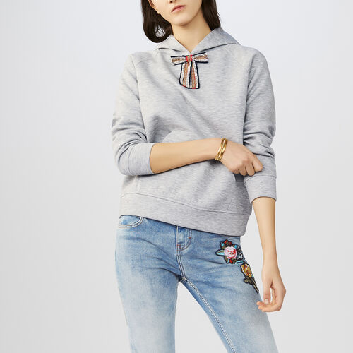 Sudadera con capucha y lazo extraíble : Sudareras color Gris