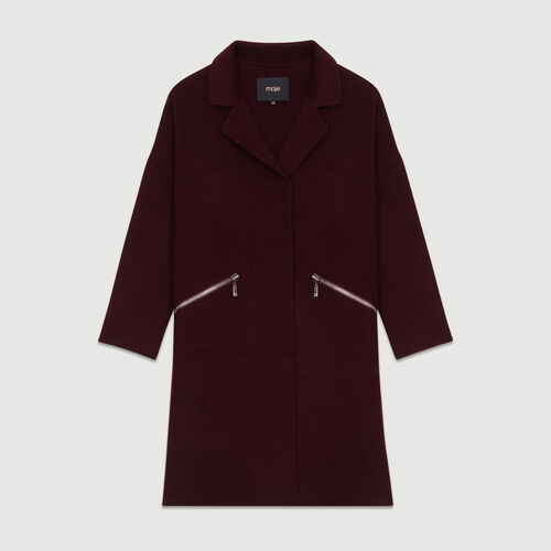 Abrigo de lana doble faz : Abrigos color Burdeos