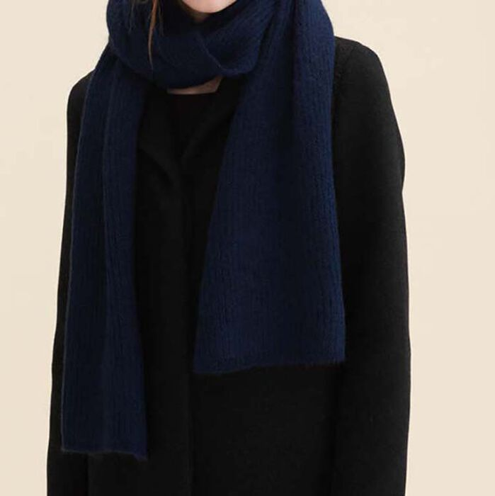 Bufanda de mezcla de lana : Accesorios color Azul Marino