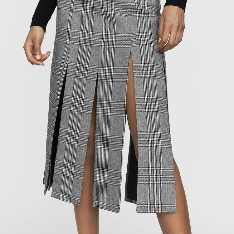 Falda larga Principe de Galle con cortes : Office girl color CARREAUX