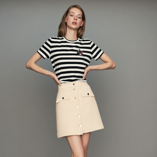 Falda trapecio de Tweed : Faldas y shorts color Crudo