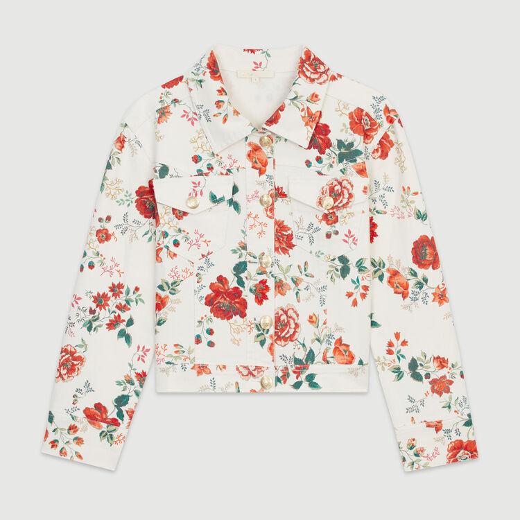Cazadora de denim estampado floral : Chaquetas color IMPRIME