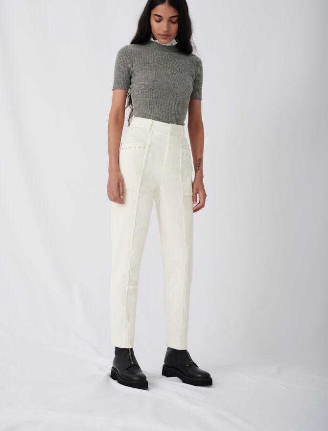 Pantalón de pana con tachuelas - Pantalones y Jeans - MAJE