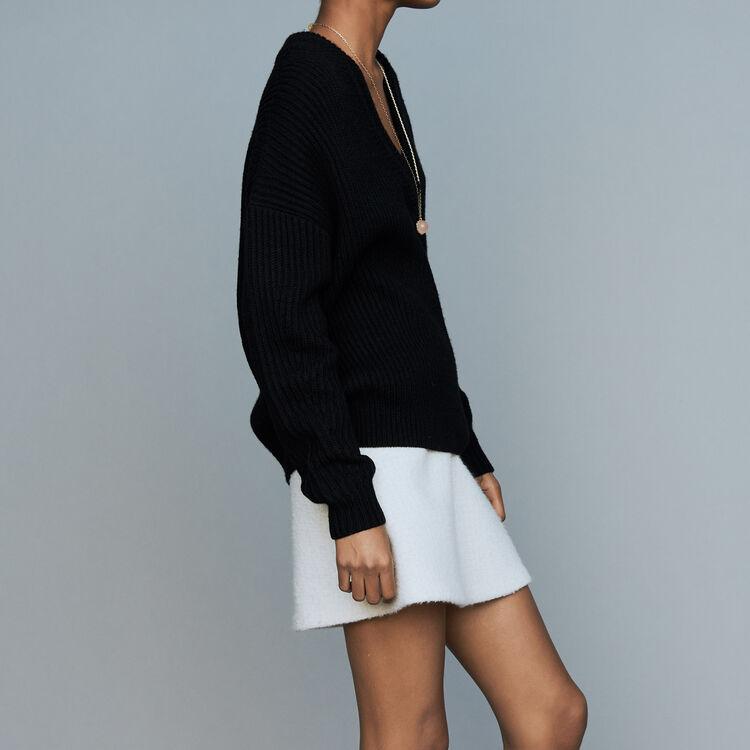 Jersey de manga larga con cuello en V : Malla color Negro