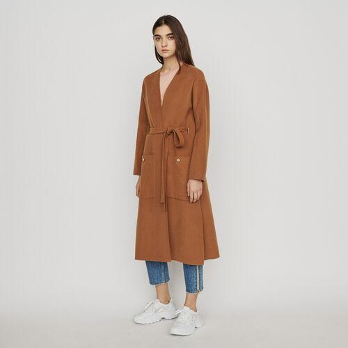 Abrigo largo doble faz de lana : Abrigos color Caramelo