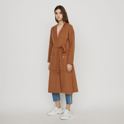 Abrigo largo doble faz de lana : Abrigos y Cazadoras color Caramelo