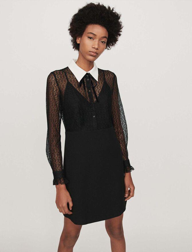 Vestido guipur-crepé cuello a contraste - Vestidos - MAJE