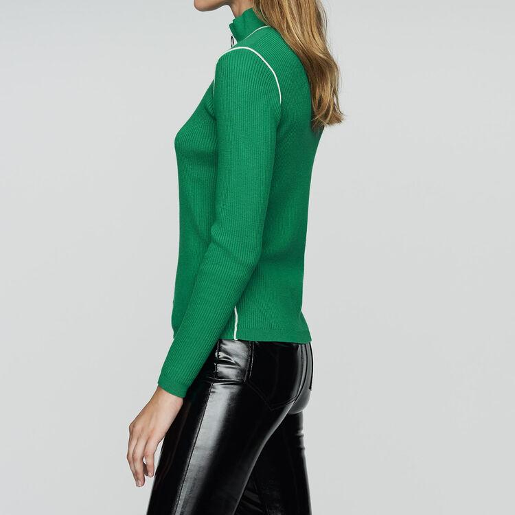 Jersey cuello caminero de punto : Malla color Verde