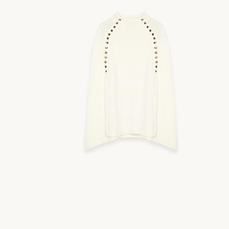 Capa tipo poncho con automáticos : Jerseys y cárdigans color Crudo