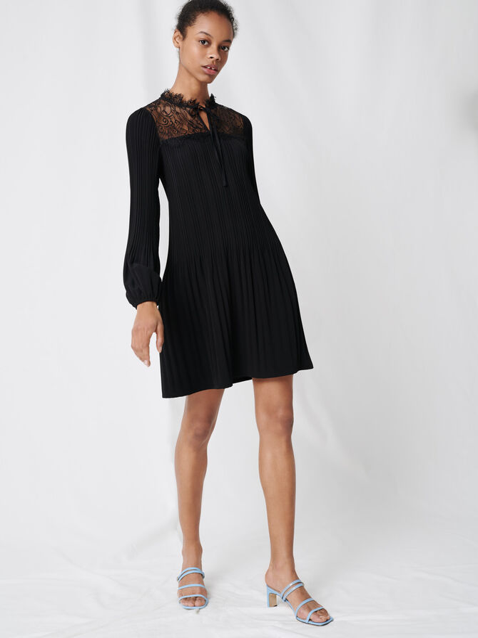 Vestido plisado y encaje - Vestidos - MAJE